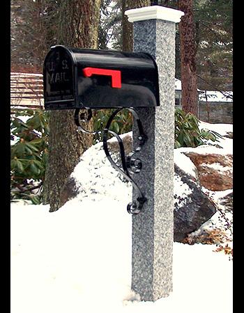 NH Grey Granite Mailbox Post