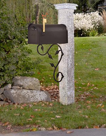 Granite Mailbox Post Wood Cap