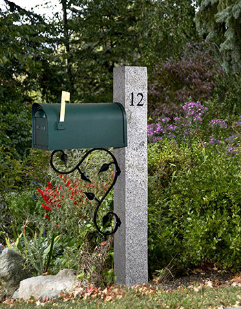 Granite Mailbox Post engraved green mailbox iron bracket