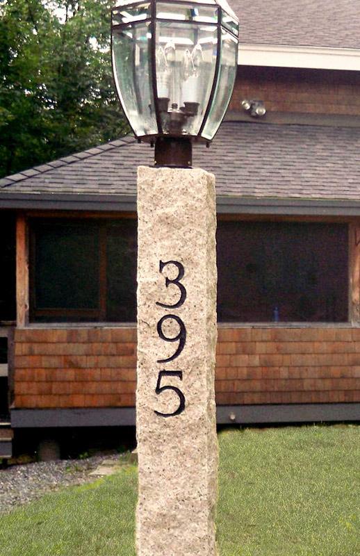 Engraved Granite Lamp Post - Golden Wheat Finish