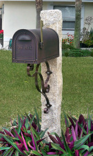 Golden Wheat Granite Post Copper Color Mailbox