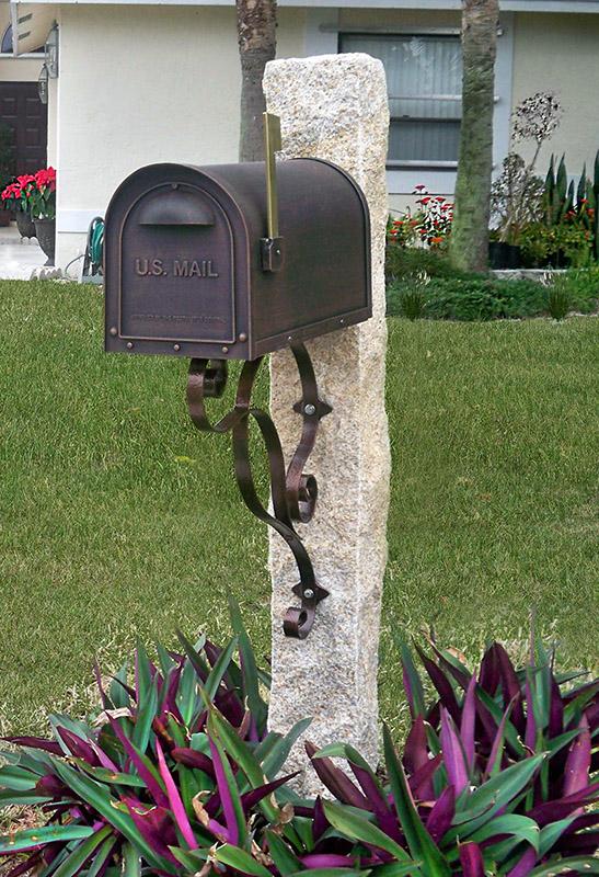 Golden Wheat Granite Post Copper Color Mailbox