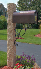 Golden Wheat Post Iron Bracket & Copper Color Mailbox