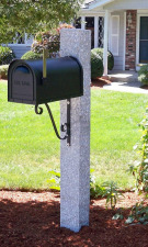 Granite Mailbox Post Pineapple Finish Iron Scroll Bracket