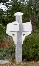 Granite Mailbox Post with Wood Brackets & Cap