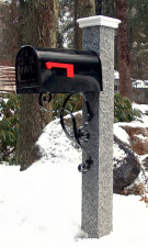 Granite Mailbox Post Wood Cap