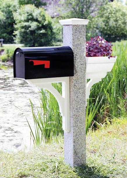 Granite Mailbox Post Wood Cap Bracket