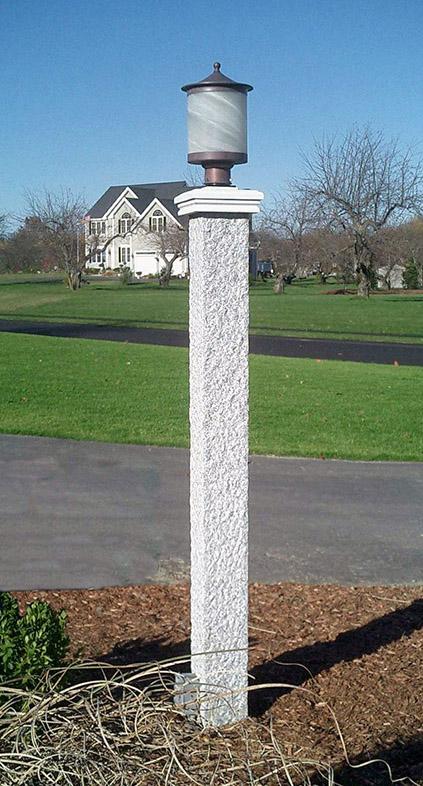 NH Gray Granite Lamp Post & Cap - Pineapple Finish