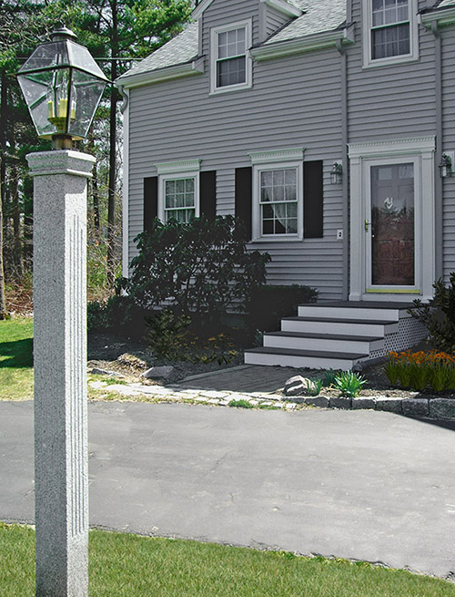NH Gray Granite Lamp Post - Thermal-Fluted Finish