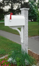 Mailbox Post with Pineapple Granite Finish & Wood Bracket