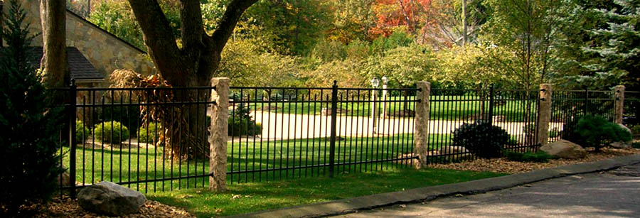 Golden Wheat Granite Fence Posts, Rock 4 sides, Iron