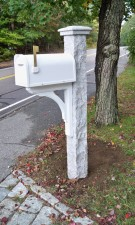 White Mailbox Granite Post