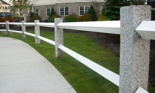 NH Gray Granite Fence Posts with White Rails