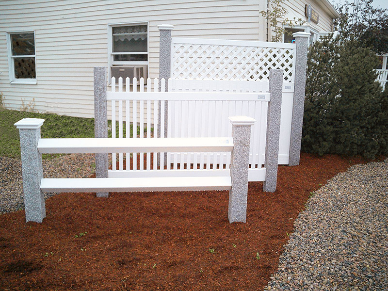 Granite Fence Posts with White Panels