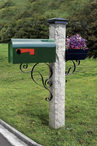 Green Mailbox Iron Bracket And Cap